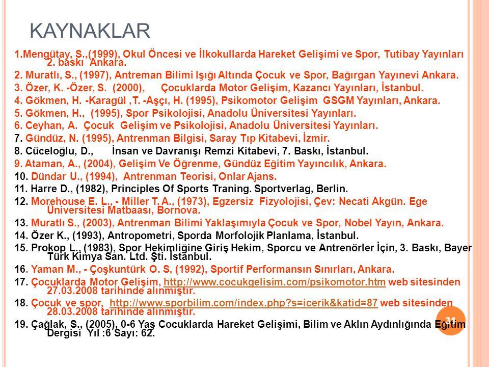 KAYNAKLAR 1.Mengütay, S.,(1999), Okul Öncesi ve İlkokullarda Hareket Gelişimi ve Spor, Tutibay Yayınları 2. baskı Ankara. 2. Muratlı, S., (1997), Antr