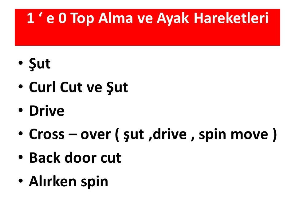 1 ' e 0 Top Alma ve Ayak Hareketleri Şut Curl Cut ve Şut Drive Cross – over ( şut,drive, spin move ) Back door cut Alırken spin