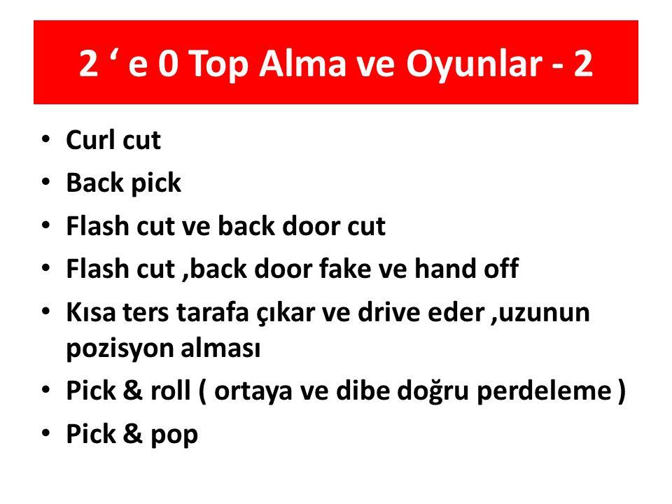 2 ' e 0 Top Alma ve Oyunlar - 2 Curl cut Back pick Flash cut ve back door cut Flash cut,back door fake ve hand off Kısa ters tarafa çıkar ve drive ede