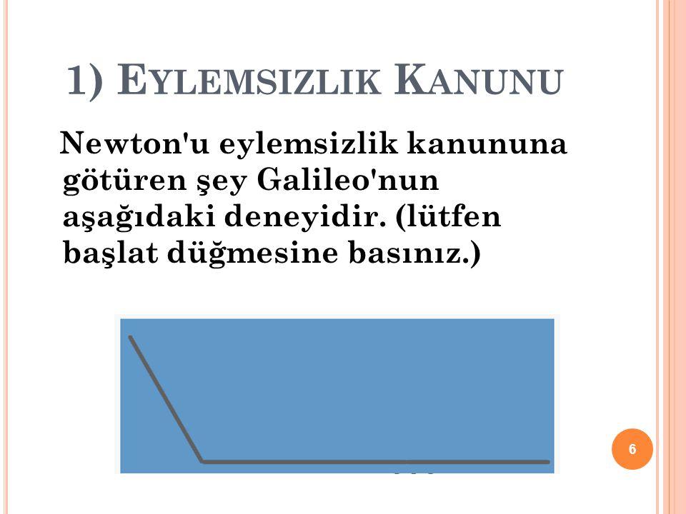 1) E YLEMSIZLIK K ANUNU Newton u eylemsizlik kanununa götüren şey Galileo nun aşağıdaki deneyidir.