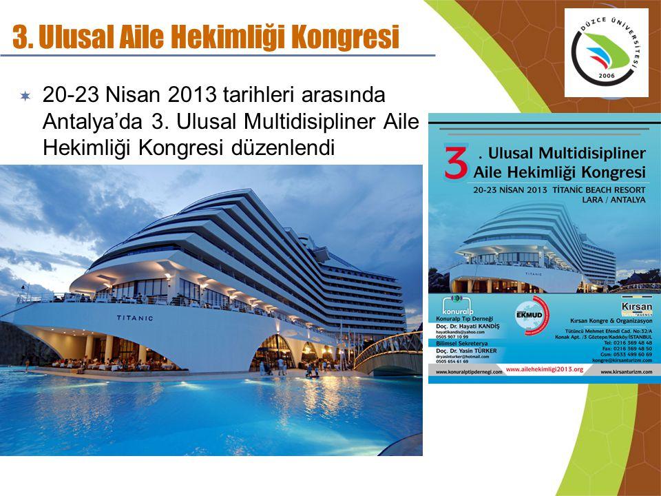 3. Ulusal Aile Hekimliği Kongresi  20-23 Nisan 2013 tarihleri arasında Antalya'da 3. Ulusal Multidisipliner Aile Hekimliği Kongresi düzenlendi