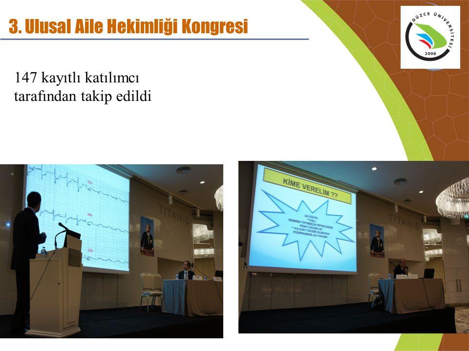3. Ulusal Aile Hekimliği Kongresi 147 kayıtlı katılımcı tarafından takip edildi