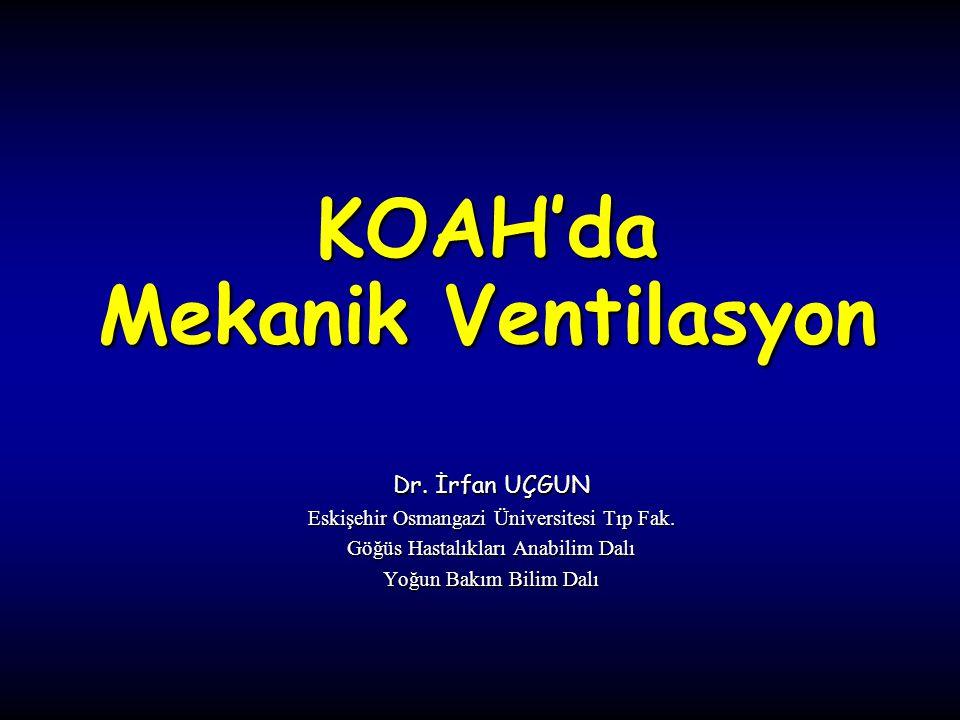 KOAH + Solunum Yetmezliği Solunum yetmezliğinin en sık nedeni, Sıklığı artan bir hastalık, Önlenebilir bir hastalıktır.