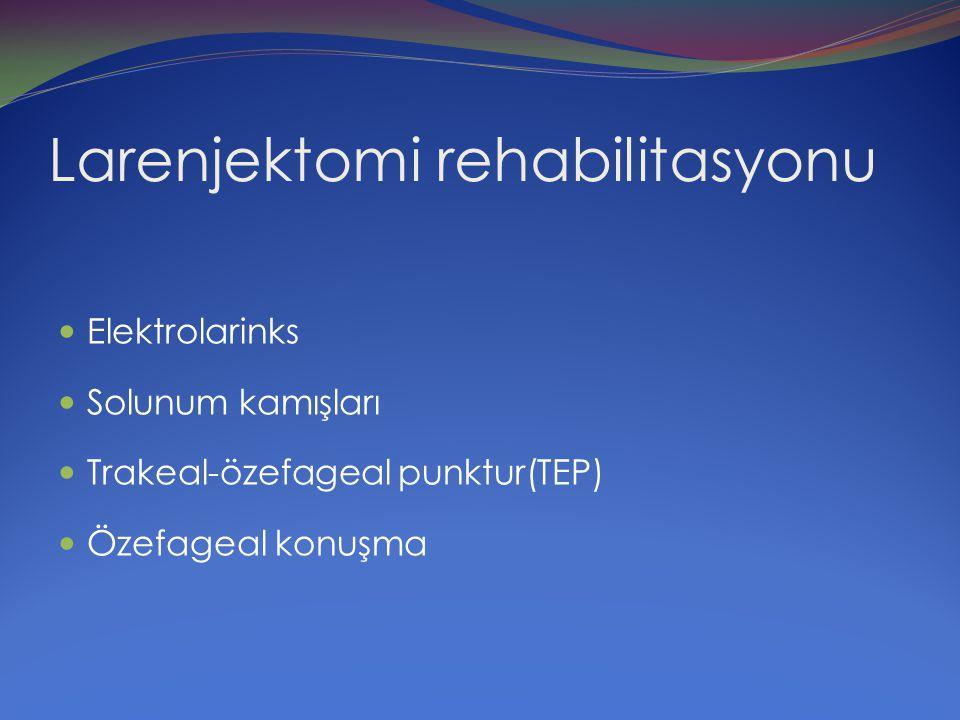 Larenjektomi rehabilitasyonu Elektrolarinks Solunum kamışları Trakeal-özefageal punktur(TEP) Özefageal konuşma