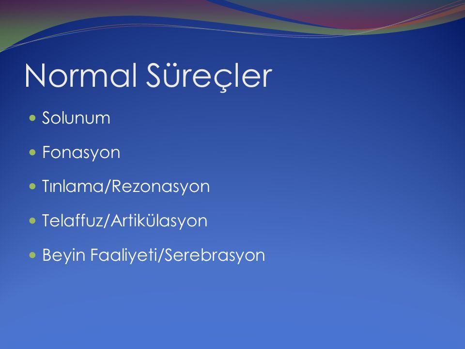 Normal Süreçler Solunum Fonasyon Tınlama/Rezonasyon Telaffuz/Artikülasyon Beyin Faaliyeti/Serebrasyon