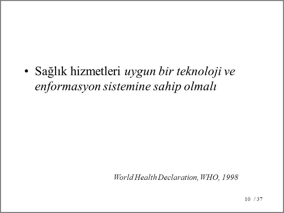 / 3710 Sağlık hizmetleri uygun bir teknoloji ve enformasyon sistemine sahip olmalı World Health Declaration, WHO, 1998