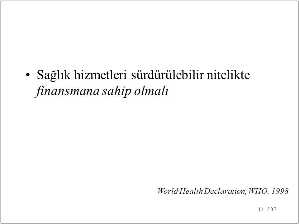/ 3711 Sağlık hizmetleri sürdürülebilir nitelikte finansmana sahip olmalı World Health Declaration, WHO, 1998