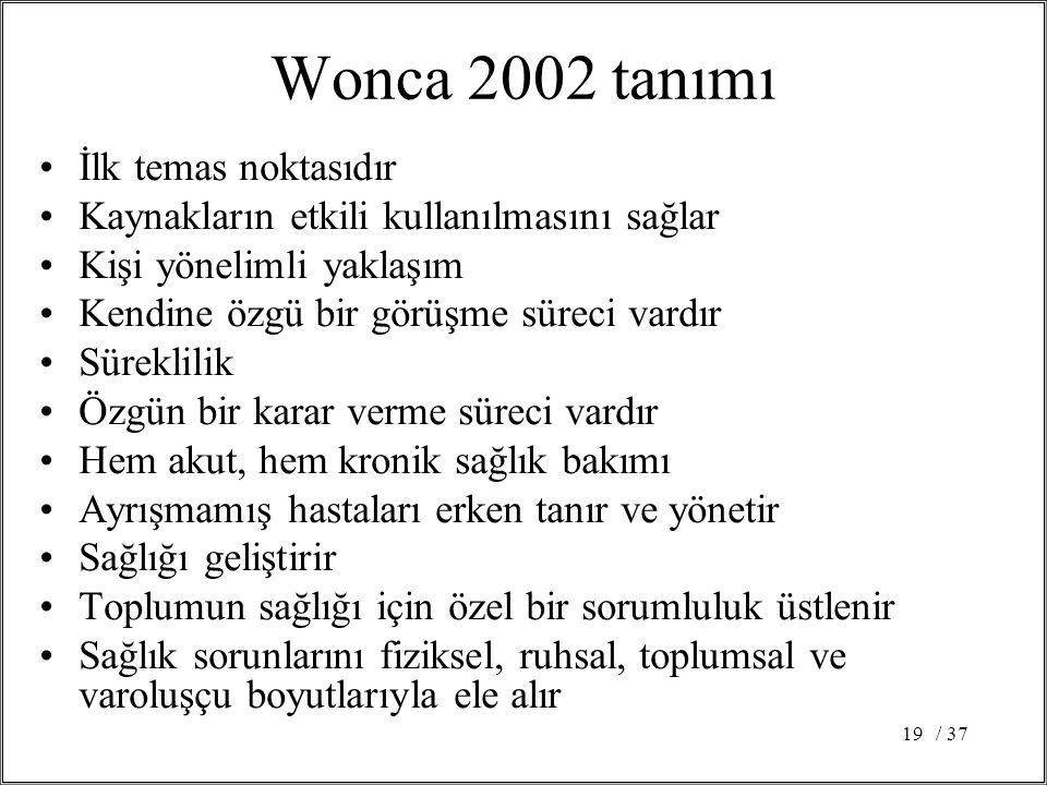 / 3719 Wonca 2002 tanımı İlk temas noktasıdır Kaynakların etkili kullanılmasını sağlar Kişi yönelimli yaklaşım Kendine özgü bir görüşme süreci vardır