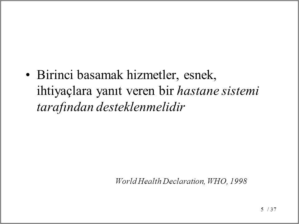 / 375 Birinci basamak hizmetler, esnek, ihtiyaçlara yanıt veren bir hastane sistemi tarafından desteklenmelidir World Health Declaration, WHO, 1998