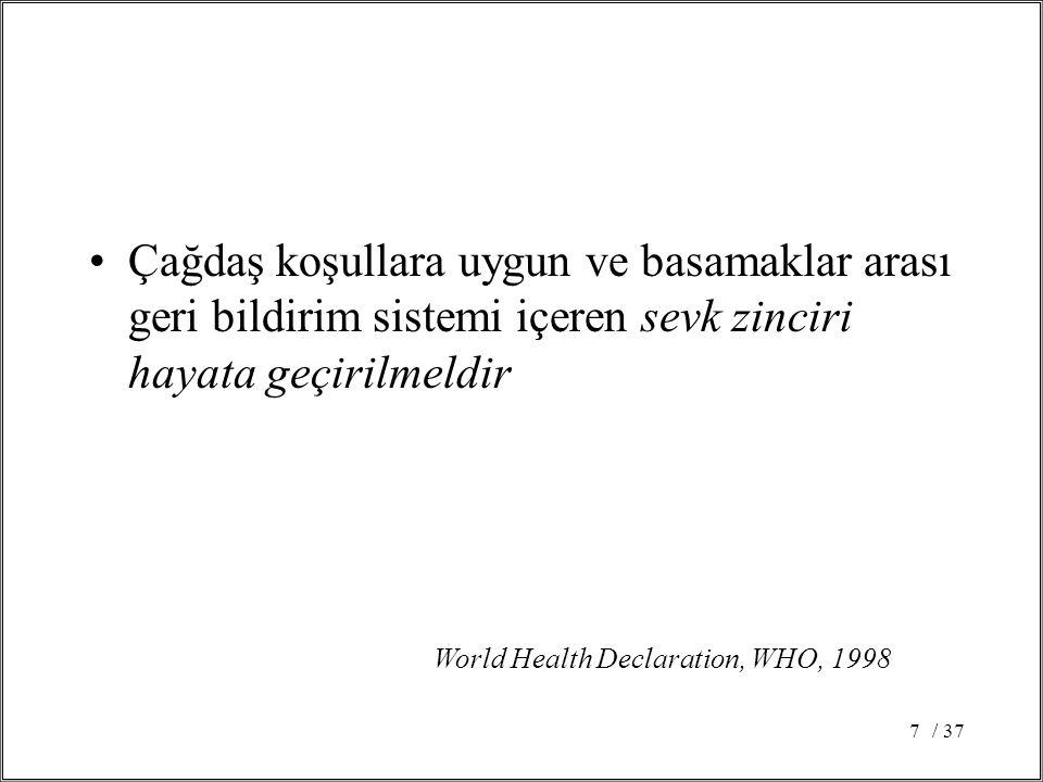 / 377 Çağdaş koşullara uygun ve basamaklar arası geri bildirim sistemi içeren sevk zinciri hayata geçirilmeldir World Health Declaration, WHO, 1998