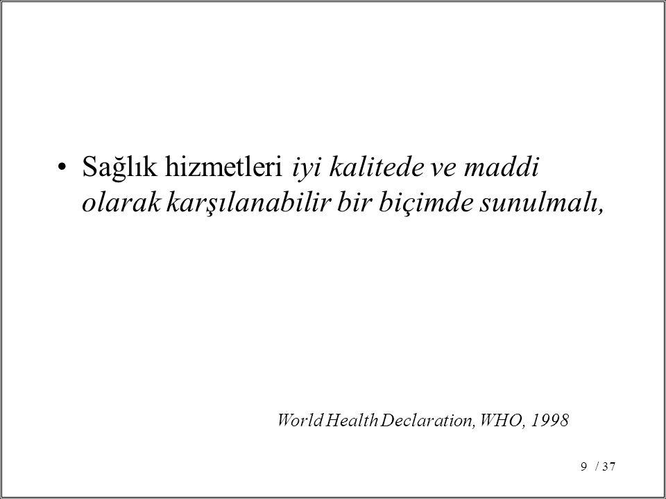 / 379 Sağlık hizmetleri iyi kalitede ve maddi olarak karşılanabilir bir biçimde sunulmalı, World Health Declaration, WHO, 1998
