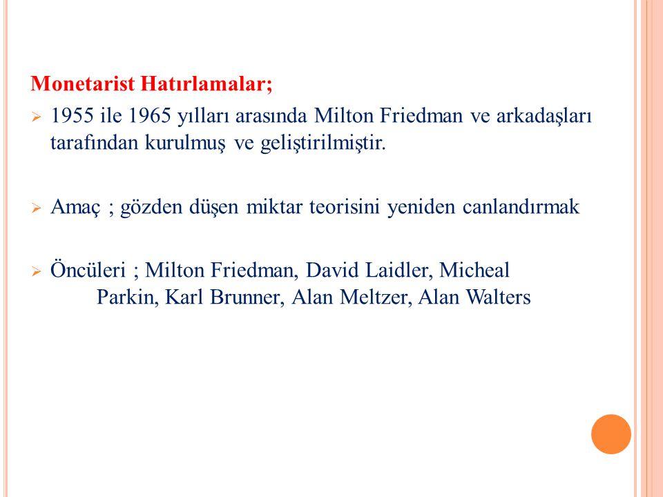 ÖNEMLİ TEMSİLCİLERİ T.SARGENT ve N.