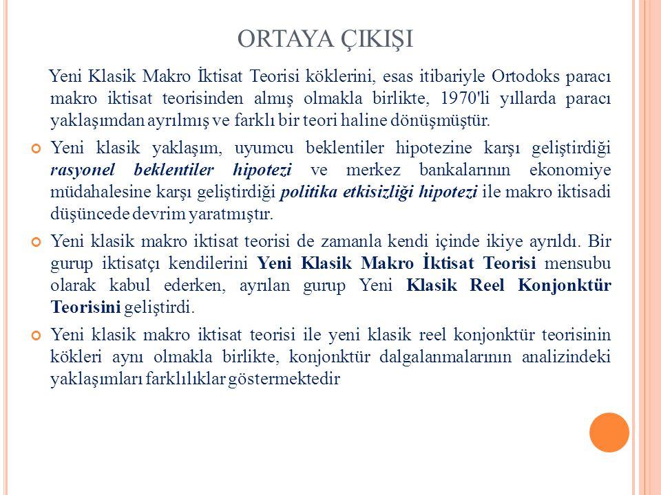 ORTAYA ÇIKIŞI Yeni Klasik Makro İktisat Teorisi köklerini, esas itibariyle Ortodoks paracı makro iktisat teorisinden almış olmakla birlikte, 1970'li y