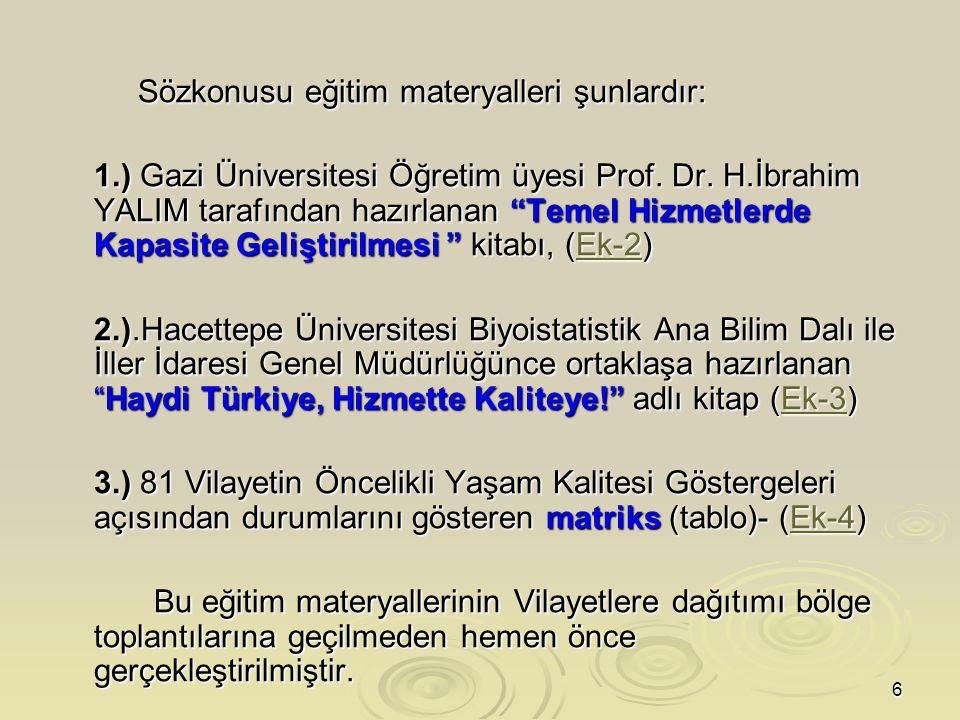 6 Sözkonusu eğitim materyalleri şunlardır: Sözkonusu eğitim materyalleri şunlardır: 1.) Gazi Üniversitesi Öğretim üyesi Prof.