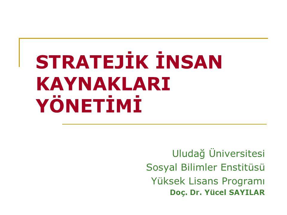 STRATEJİK İNSAN KAYNAKLARI YÖNETİMİ Uludağ Üniversitesi Sosyal Bilimler Enstitüsü Yüksek Lisans Programı Doç.