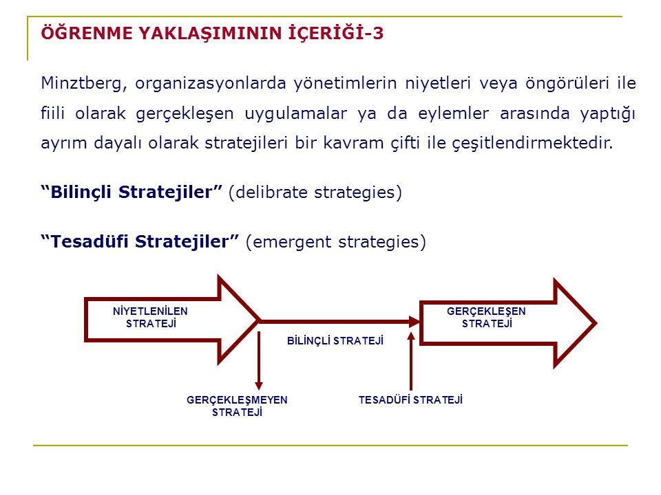 NİYETLENİLEN STRATEJİ BİLİNÇLİ STRATEJİ GERÇEKLEŞEN STRATEJİ GERÇEKLEŞMEYEN STRATEJİ TESADÜFİ STRATEJİ ÖĞRENME YAKLAŞIMININ İÇERİĞİ-3 Minztberg, organizasyonlarda yönetimlerin niyetleri veya öngörüleri ile fiili olarak gerçekleşen uygulamalar ya da eylemler arasında yaptığı ayrım dayalı olarak stratejileri bir kavram çifti ile çeşitlendirmektedir.