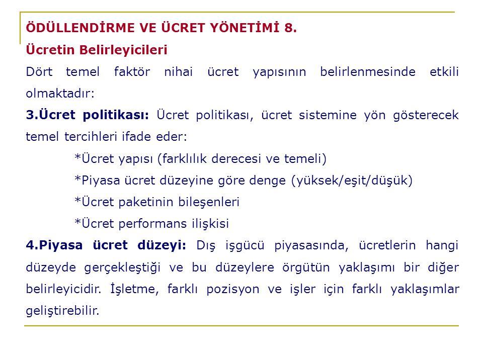 ÖDÜLLENDİRME VE ÜCRET YÖNETİMİ 8.
