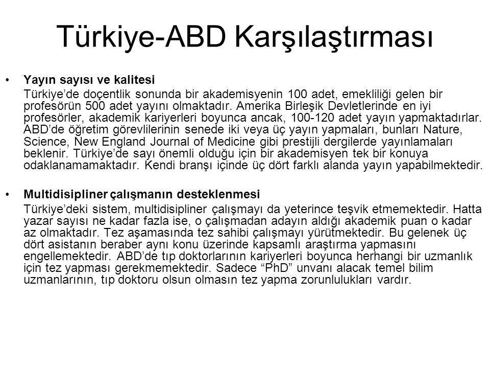 Türkiye-ABD Karşılaştırması Yayın sayısı ve kalitesi Türkiye'de doçentlik sonunda bir akademisyenin 100 adet, emekliliği gelen bir profesörün 500 adet
