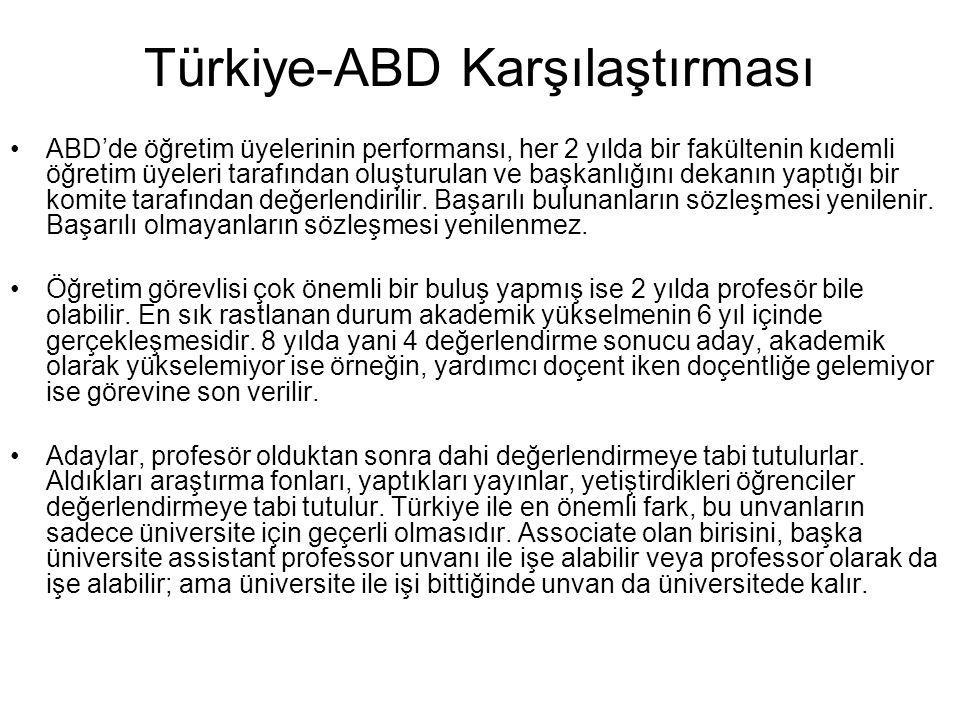 Türkiye-ABD Karşılaştırması ABD'de öğretim üyelerinin performansı, her 2 yılda bir fakültenin kıdemli öğretim üyeleri tarafından oluşturulan ve başkan