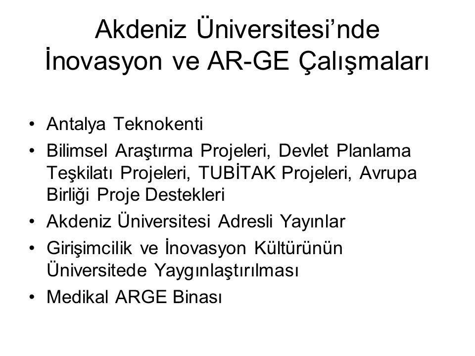 Akdeniz Üniversitesi'nde İnovasyon ve AR-GE Çalışmaları Antalya Teknokenti Bilimsel Araştırma Projeleri, Devlet Planlama Teşkilatı Projeleri, TUBİTAK