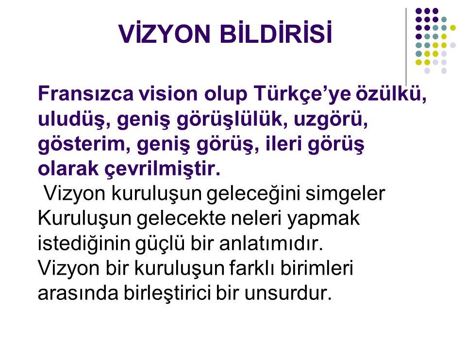 Fransızca vision olup Türkçe'ye özülkü, uludüş, geniş görüşlülük, uzgörü, gösterim, geniş görüş, ileri görüş olarak çevrilmiştir. Vizyon kuruluşun gel