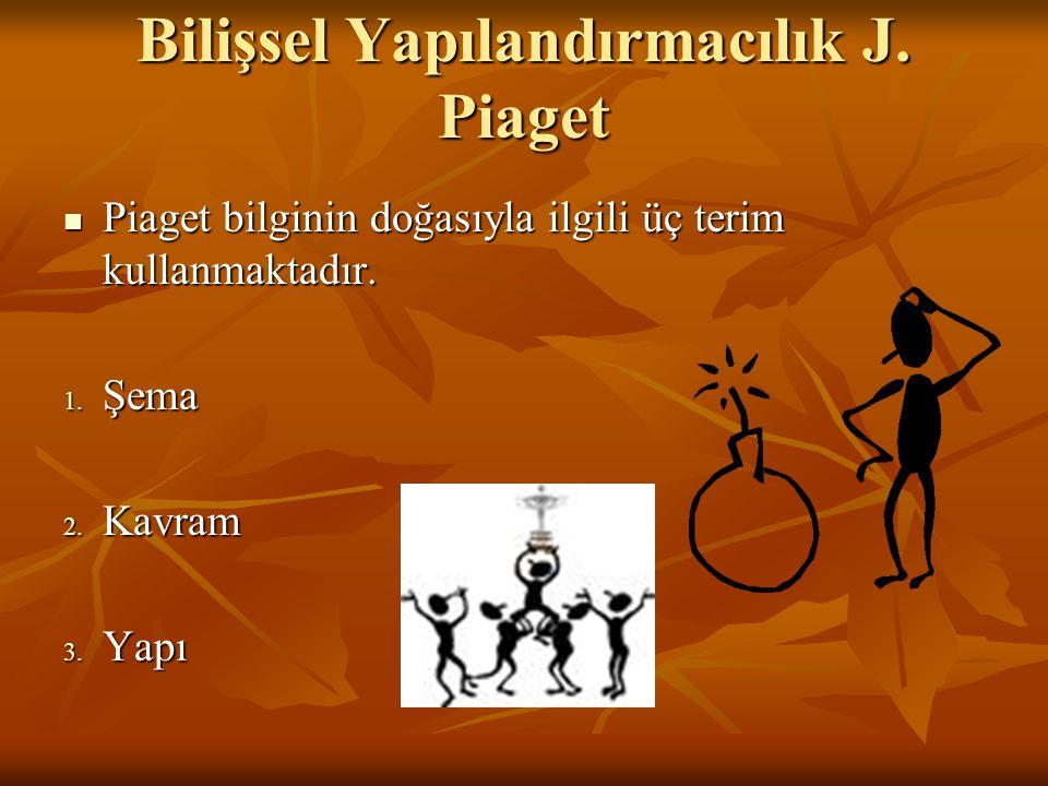 Bilişsel Yapılandırmacılık J. Piaget Piaget bilginin doğasıyla ilgili üç terim kullanmaktadır. Piaget bilginin doğasıyla ilgili üç terim kullanmaktadı