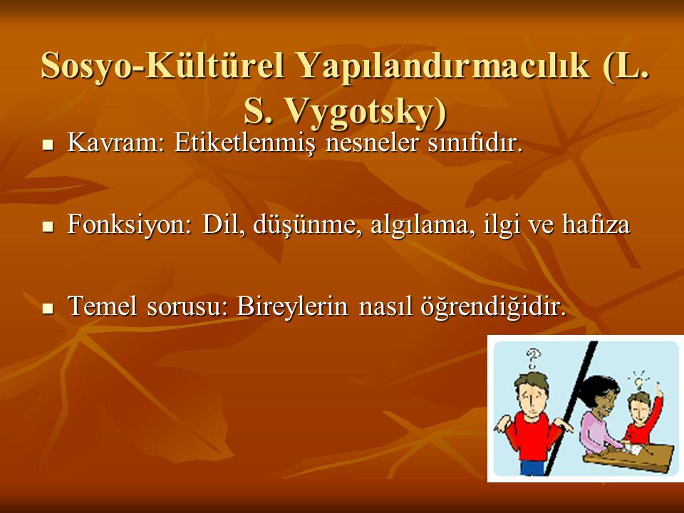 Sosyo-Kültürel Yapılandırmacılık (L. S. Vygotsky) Kavram: Etiketlenmiş nesneler sınıfıdır. Kavram: Etiketlenmiş nesneler sınıfıdır. Fonksiyon: Dil, dü