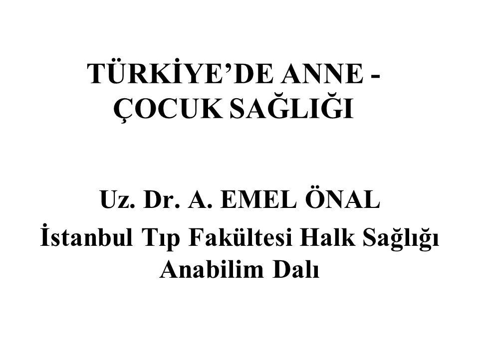 TÜRKİYE'DE ANNE - ÇOCUK SAĞLIĞI Uz.Dr. A.