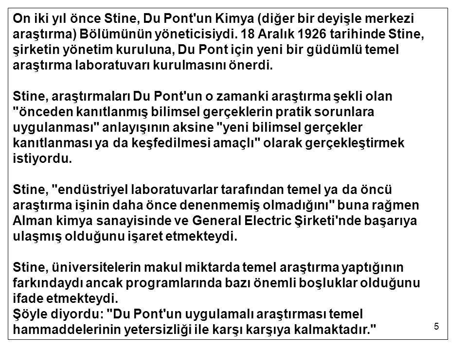 5 On iki yıl önce Stine, Du Pont'un Kimya (diğer bir deyişle merkezi araştırma) Bölümünün yöneticisiydi. 18 Aralık 1926 tarihinde Stine, şirketin yöne