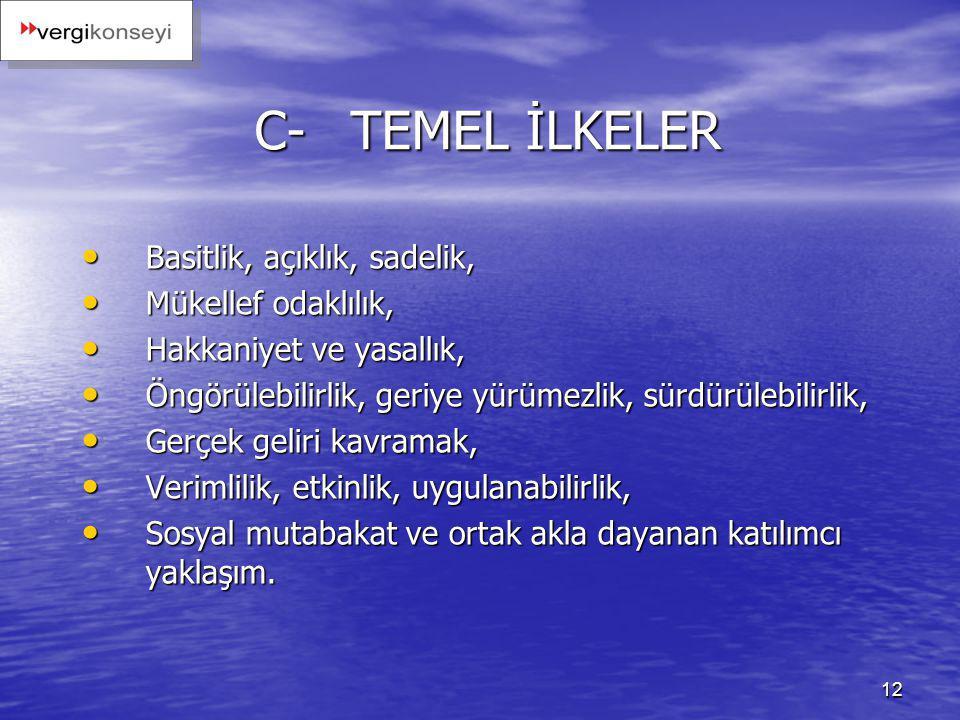 12 C-TEMEL İLKELER Basitlik, açıklık, sadelik, Basitlik, açıklık, sadelik, Mükellef odaklılık, Mükellef odaklılık, Hakkaniyet ve yasallık, Hakkaniyet