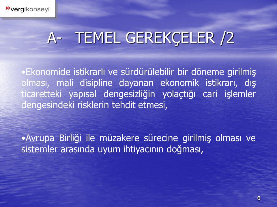 6 A-TEMEL GEREKÇELER /2 Ekonomide istikrarlı ve sürdürülebilir bir döneme girilmiş olması, mali disipline dayanan ekonomik istikrarı, dış ticaretteki