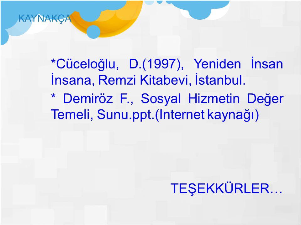 KAYNAKÇA *Cüceloğlu, D.(1997), Yeniden İnsan İnsana, Remzi Kitabevi, İstanbul. * Demiröz F., Sosyal Hizmetin Değer Temeli, Sunu.ppt.(Internet kaynağı)