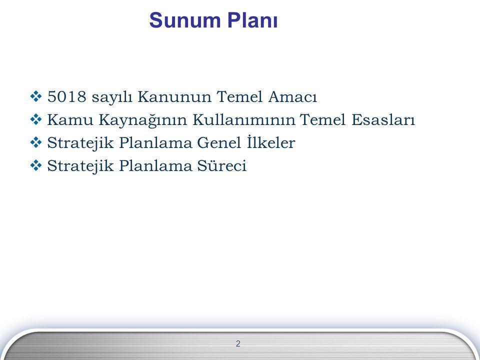 2 Sunum Planı  5018 sayılı Kanunun Temel Amacı  Kamu Kaynağının Kullanımının Temel Esasları  Stratejik Planlama Genel İlkeler  Stratejik Planlama