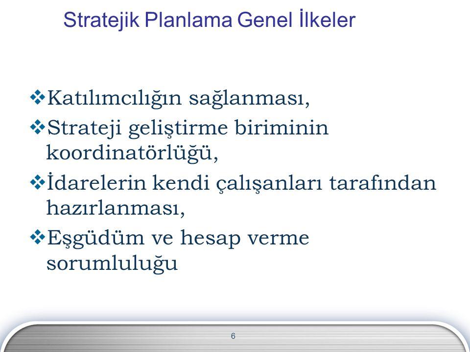 6 Stratejik Planlama Genel İlkeler  Katılımcılığın sağlanması,  Strateji geliştirme biriminin koordinatörlüğü,  İdarelerin kendi çalışanları tarafı