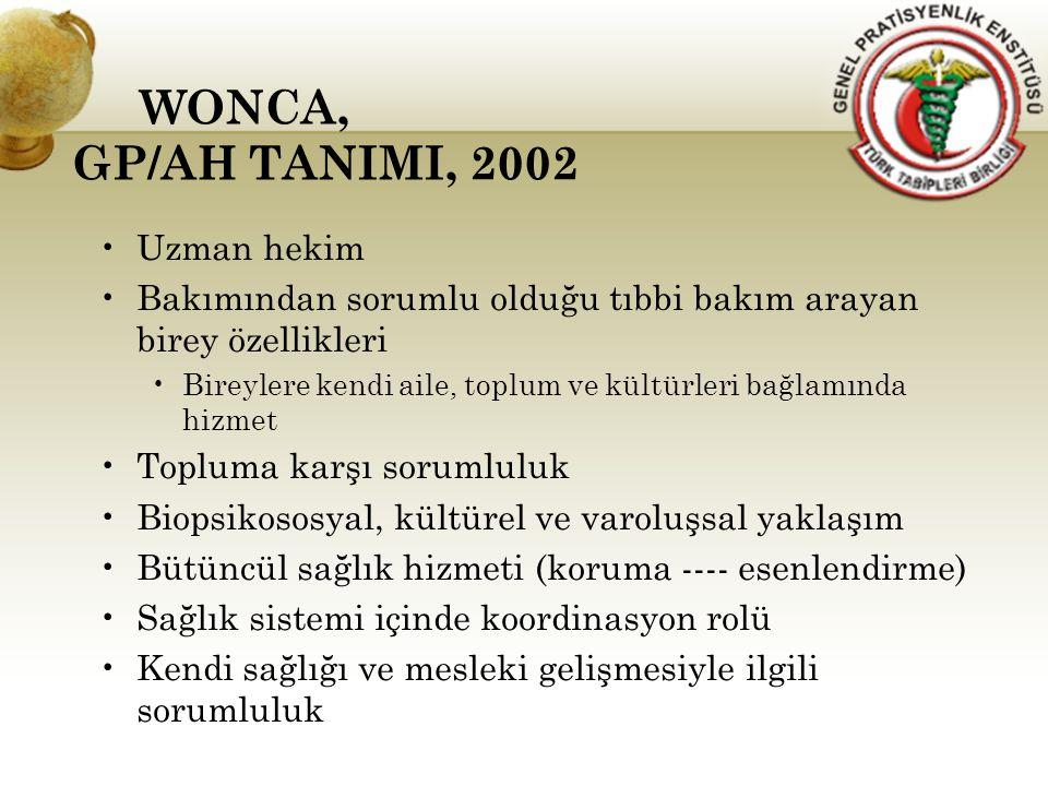 WONCA, GP/AH TANIMI, 2002 Uzman hekim Bakımından sorumlu olduğu tıbbi bakım arayan birey özellikleri Bireylere kendi aile, toplum ve kültürleri bağlam