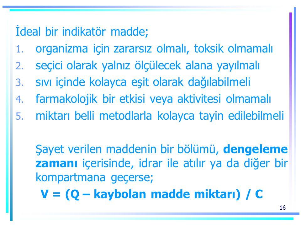 16 İdeal bir indikatör madde; 1. organizma için zararsız olmalı, toksik olmamalı 2. seçici olarak yalnız ölçülecek alana yayılmalı 3. sıvı içinde kola