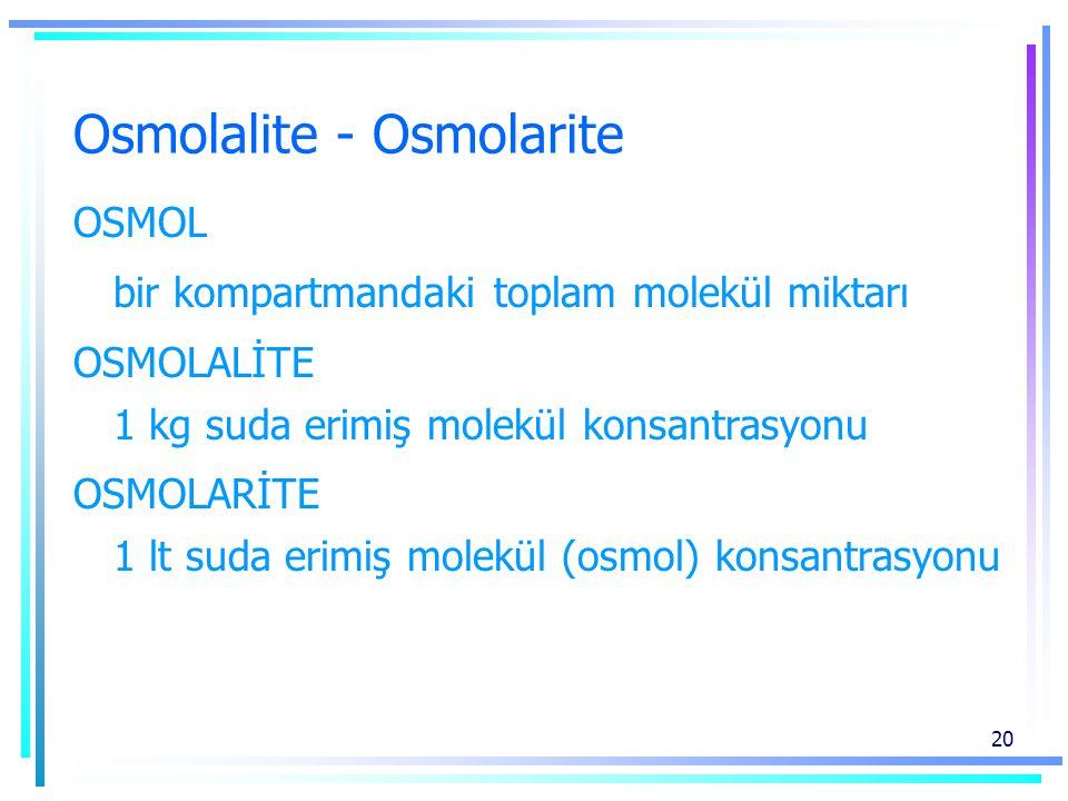 20 Osmolalite - Osmolarite OSMOL bir kompartmandaki toplam molekül miktarı OSMOLALİTE 1 kg suda erimiş molekül konsantrasyonu OSMOLARİTE 1 lt suda erimiş molekül (osmol) konsantrasyonu