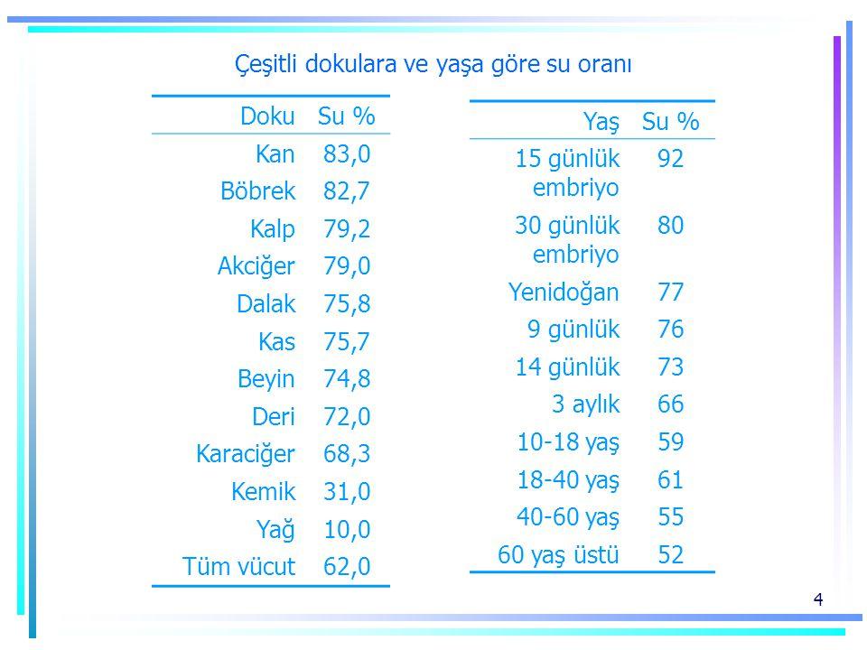4 Çeşitli dokulara ve yaşa göre su oranı DokuSu % Kan83,0 Böbrek82,7 Kalp79,2 Akciğer79,0 Dalak75,8 Kas75,7 Beyin74,8 Deri72,0 Karaciğer68,3 Kemik31,0 Yağ10,0 Tüm vücut62,0 YaşSu % 15 günlük embriyo 92 30 günlük embriyo 80 Yenidoğan77 9 günlük76 14 günlük73 3 aylık66 10-18 yaş59 18-40 yaş61 40-60 yaş55 60 yaş üstü52