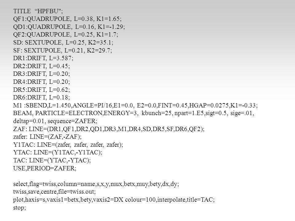 Şimdi Geometrimizi Görelim Bu amaçla SURVEY komutu kullanılır Sequence=TAC ve USE PERIODE=TAC yaptıktan sonra SURVEY, file=survey.out; WRITE, table=survey; plot, file= survey1 ,table=survey, haxis=z,vaxis=x; Grafiğin tam bir ring olması gerekli
