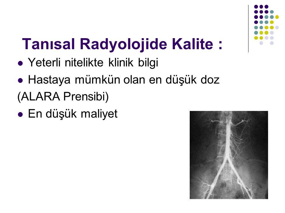 Tanısal Radyolojide Kalite : Yeterli nitelikte klinik bilgi Hastaya mümkün olan en düşük doz (ALARA Prensibi) En düşük maliyet