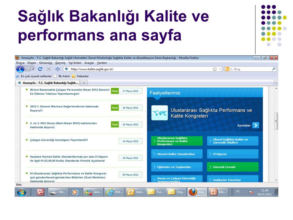 Sağlık Bakanlığı Kalite ve performans ana sayfa