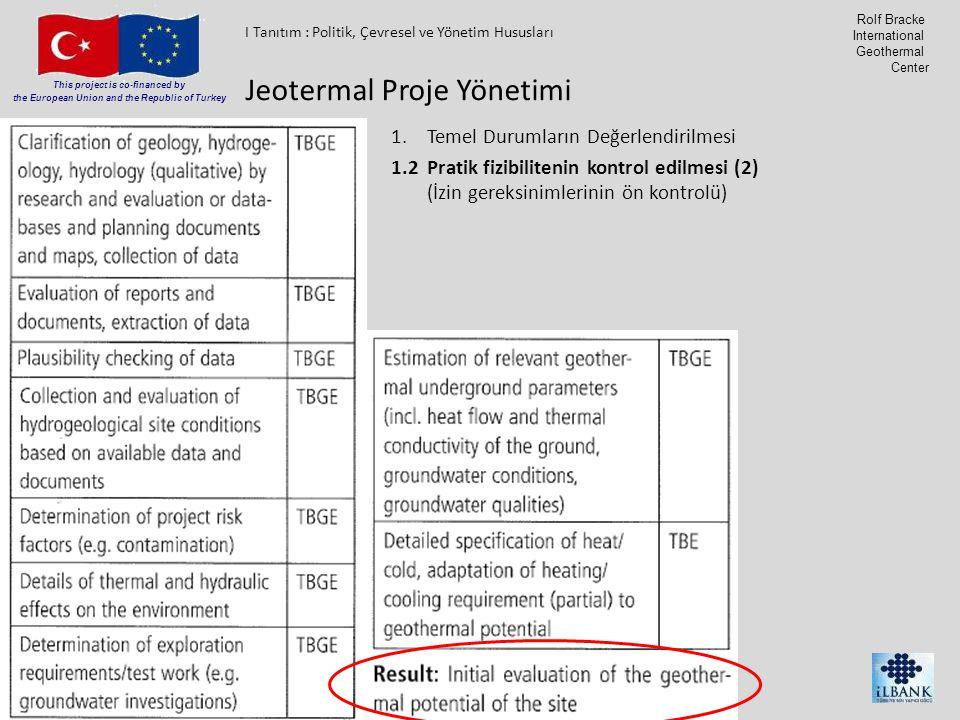 Member of Consortium This project is co-financed by the European Union and the Republic of Turkey Rolf Bracke International Geothermal Center 1.Temel Durumların Değerlendirilmesi 1.2Pratik fizibilitenin kontrol edilmesi (2) (İzin gereksinimlerinin ön kontrolü) Jeotermal Proje Yönetimi I Tanıtım : Politik, Çevresel ve Yönetim Hususları