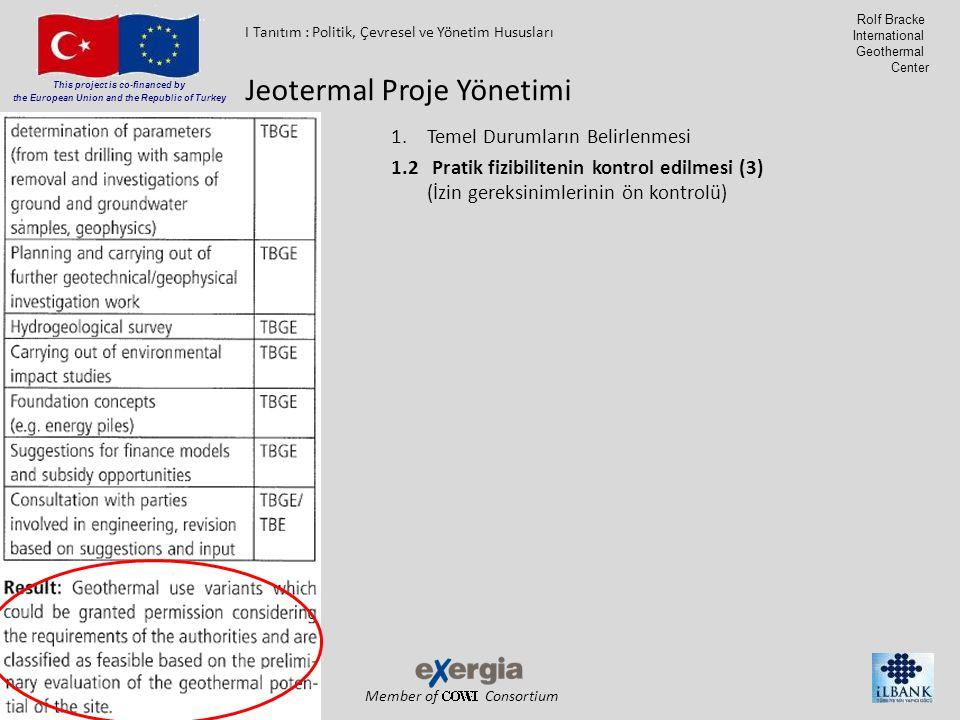 Member of Consortium This project is co-financed by the European Union and the Republic of Turkey Rolf Bracke International Geothermal Center 1.Temel Durumların Belirlenmesi 1.2 Pratik fizibilitenin kontrol edilmesi (3) (İzin gereksinimlerinin ön kontrolü) Jeotermal Proje Yönetimi I Tanıtım : Politik, Çevresel ve Yönetim Hususları