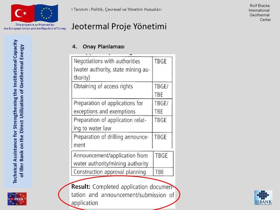 Member of Consortium This project is co-financed by the European Union and the Republic of Turkey Rolf Bracke International Geothermal Center 4.Onay Planlaması Jeotermal Proje Yönetimi I Tanıtım : Politik, Çevresel ve Yönetim Hususları