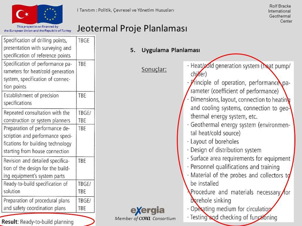 Member of Consortium This project is co-financed by the European Union and the Republic of Turkey Rolf Bracke International Geothermal Center 5.Uygulama Planlaması Sonuçlar: Jeotermal Proje Planlaması I Tanıtım : Politik, Çevresel ve Yönetim Hususları
