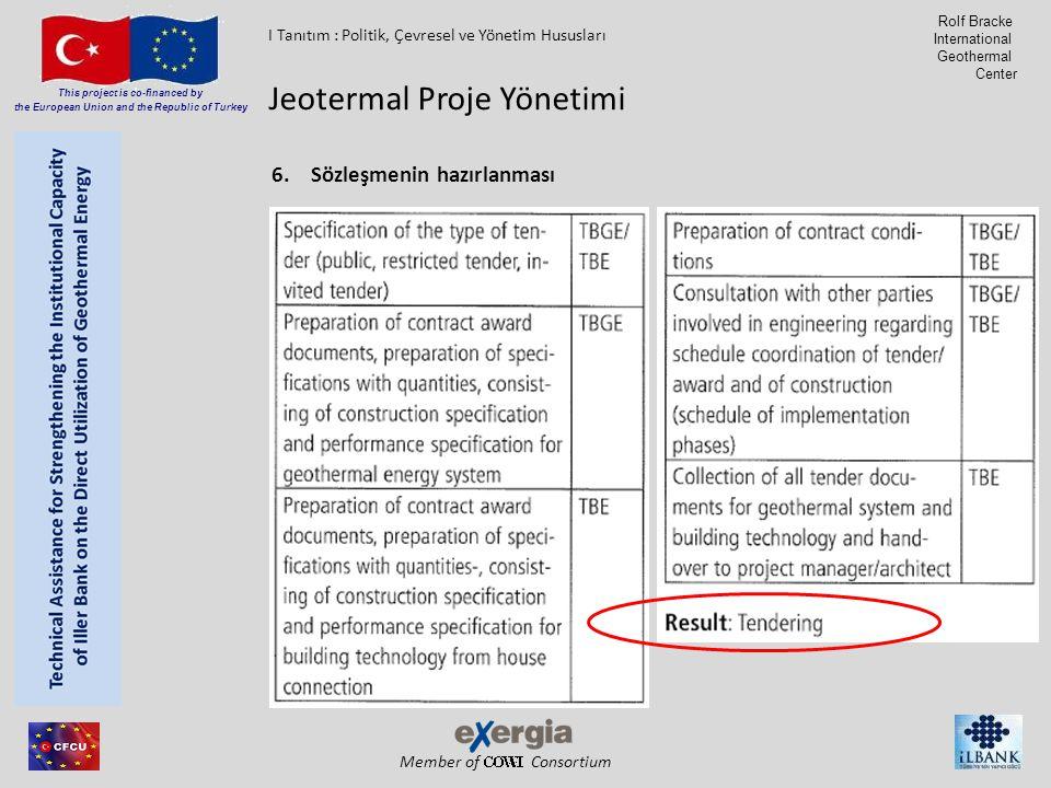 Member of Consortium This project is co-financed by the European Union and the Republic of Turkey Rolf Bracke International Geothermal Center 6.Sözleşmenin hazırlanması Jeotermal Proje Yönetimi I Tanıtım : Politik, Çevresel ve Yönetim Hususları