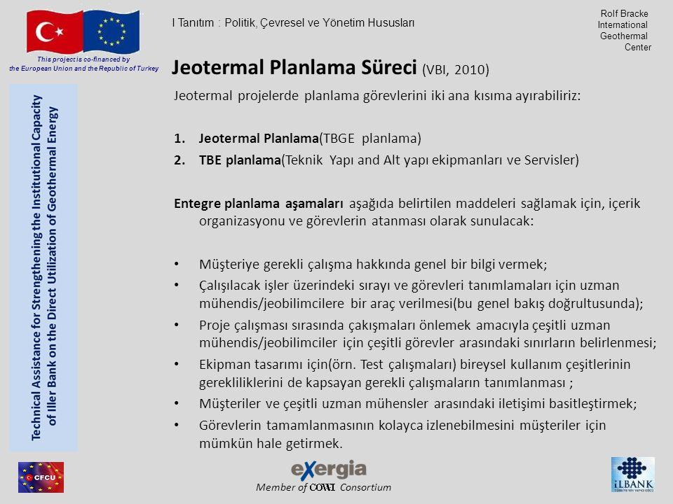 Member of Consortium This project is co-financed by the European Union and the Republic of Turkey Rolf Bracke International Geothermal Center Jeotermal projelerde planlama görevlerini iki ana kısıma ayırabiliriz: 1.Jeotermal Planlama(TBGE planlama) 2.TBE planlama(Teknik Yapı and Alt yapı ekipmanları ve Servisler) Entegre planlama aşamaları aşağıda belirtilen maddeleri sağlamak için, içerik organizasyonu ve görevlerin atanması olarak sunulacak: Müşteriye gerekli çalışma hakkında genel bir bilgi vermek; Çalışılacak işler üzerindeki sırayı ve görevleri tanımlamaları için uzman mühendis/jeobilimcilere bir araç verilmesi(bu genel bakış doğrultusunda); Proje çalışması sırasında çakışmaları önlemek amacıyla çeşitli uzman mühendis/jeobilimciler için çeşitli görevler arasındaki sınırların belirlenmesi; Ekipman tasarımı için(örn.