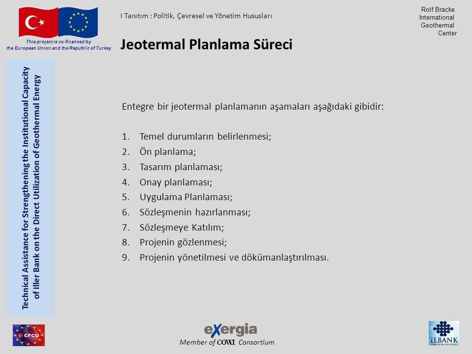 Member of Consortium This project is co-financed by the European Union and the Republic of Turkey Rolf Bracke International Geothermal Center Entegre bir jeotermal planlamanın aşamaları aşağıdaki gibidir: 1.Temel durumların belirlenmesi; 2.Ön planlama; 3.Tasarım planlaması; 4.Onay planlaması; 5.Uygulama Planlaması; 6.Sözleşmenin hazırlanması; 7.Sözleşmeye Katılım; 8.Projenin gözlenmesi; 9.Projenin yönetilmesi ve dökümanlaştırılması.