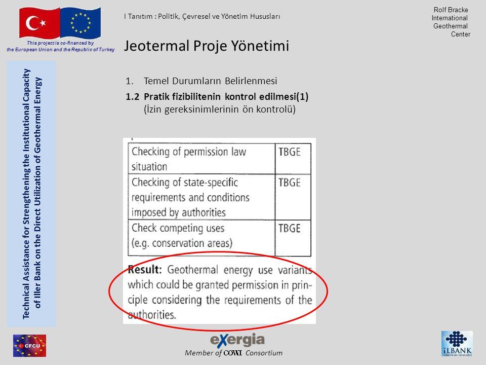 Member of Consortium This project is co-financed by the European Union and the Republic of Turkey Rolf Bracke International Geothermal Center 1.Temel Durumların Belirlenmesi 1.2Pratik fizibilitenin kontrol edilmesi(1) (İzin gereksinimlerinin ön kontrolü) Jeotermal Proje Yönetimi I Tanıtım : Politik, Çevresel ve Yönetim Hususları