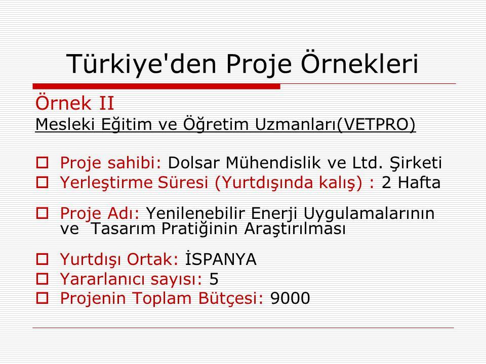 Örnek II Mesleki Eğitim ve Öğretim Uzmanları(VETPRO)  Proje sahibi: Dolsar Mühendislik ve Ltd. Şirketi  Yerleştirme Süresi (Yurtdışında kalış) : 2 H